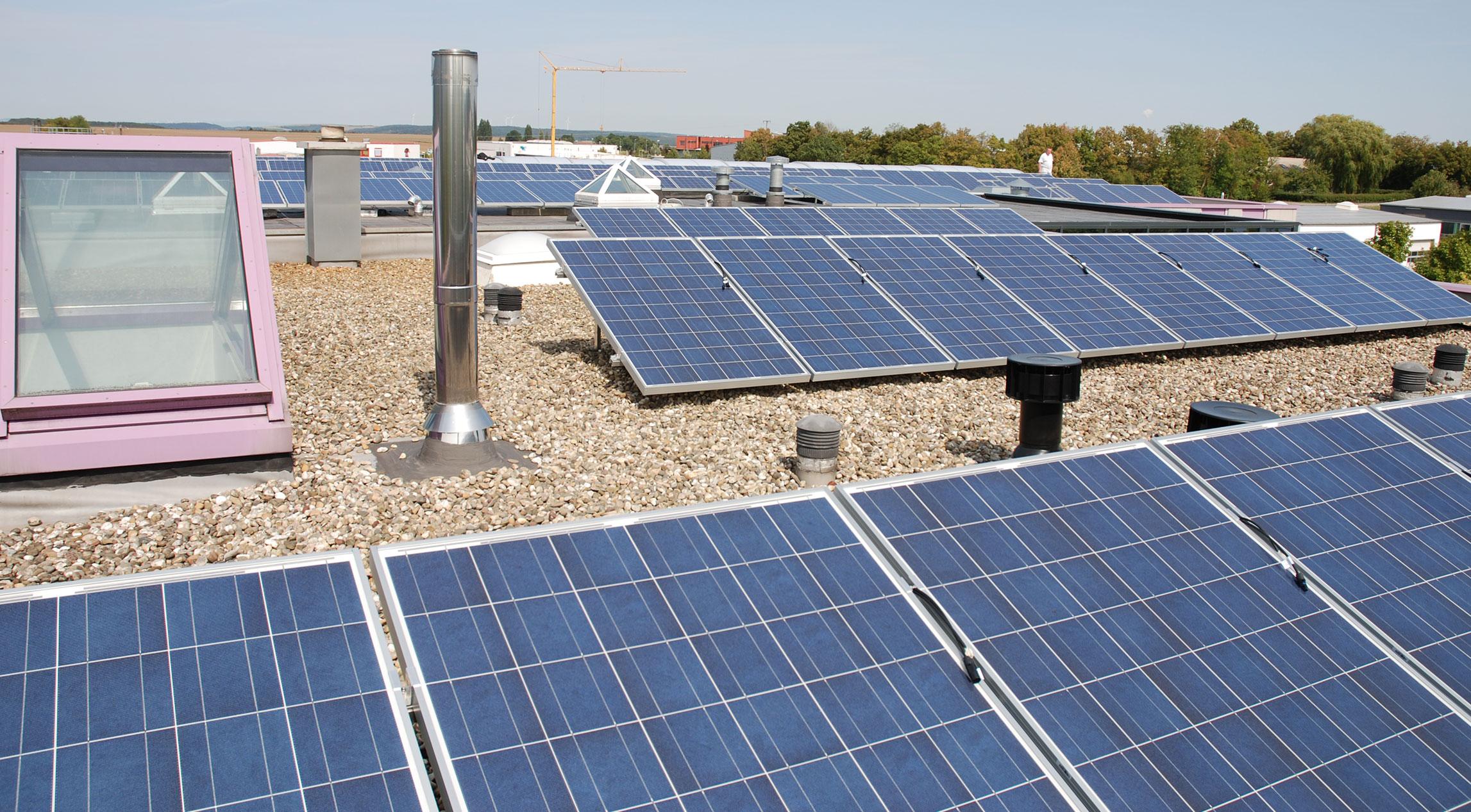 Viele Solarpanele auf Flachdach